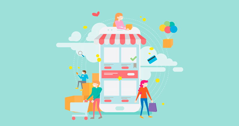 digital customer experience illustration store